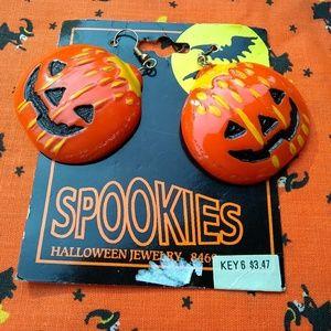 Vintage Spookies Halloween Jack o Lantern Earrings